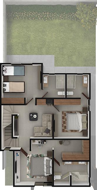Planta alta de residencia modelo Duna en Alyssa Residencial
