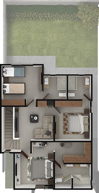 Planta alta de Residencia modelo Khali en Alyssa Residencial