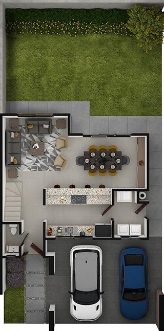 Planta baja de Residencia modelo Khali en Alyssa Residencial